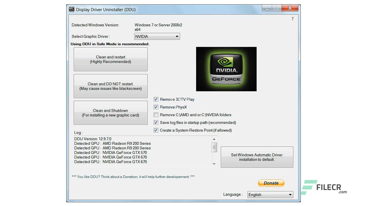 Display Driver Uninstaller 18 0 1 6 (DDU) Free Download - FileCR