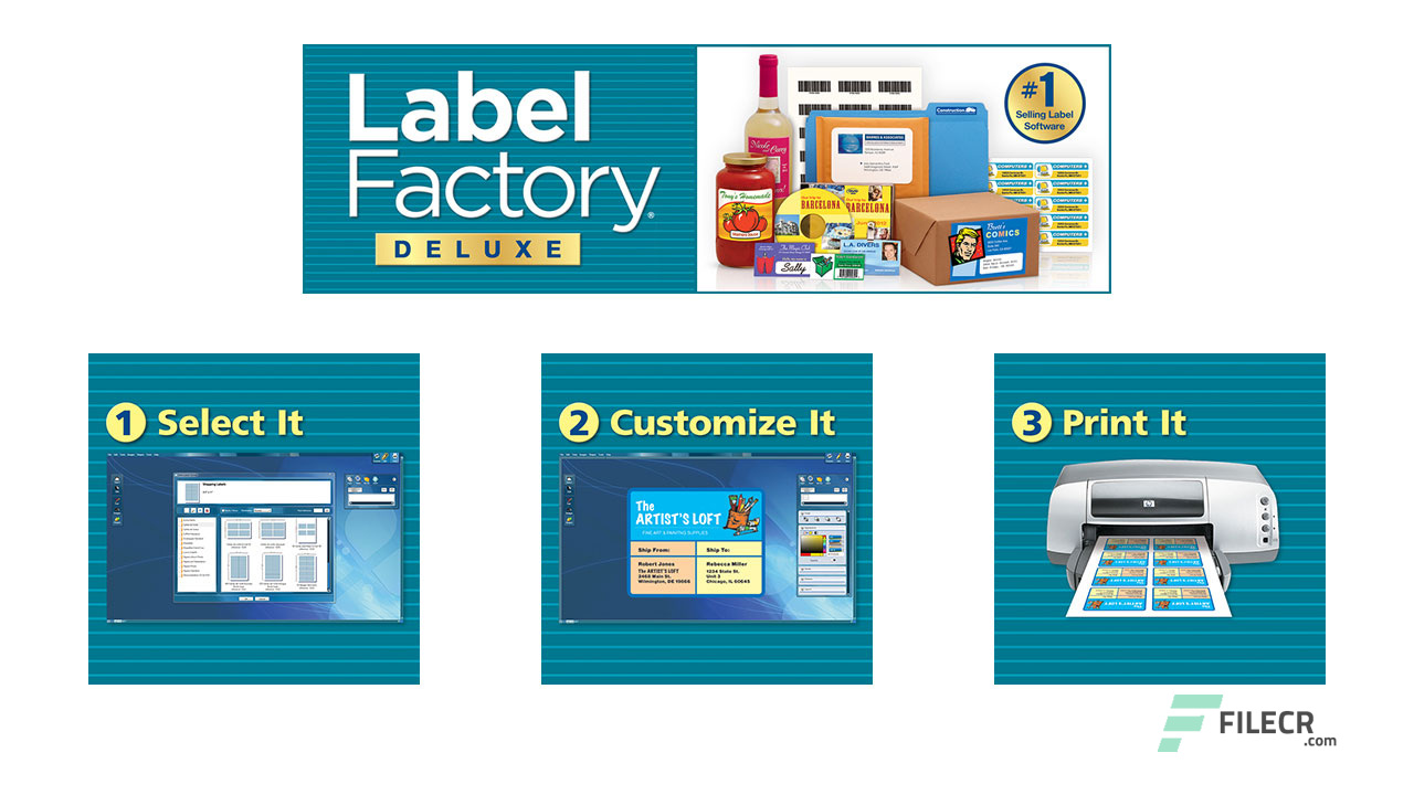 It is a graphic of Divine Art Explosion Label Factory Deluxe