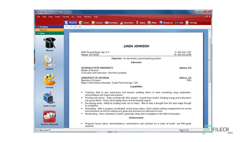 winway resume deluxe 14 00 016 free download
